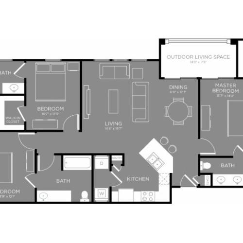 Floor Plan 5 | Apartments Little Elm TX | The Estates 3Eighty