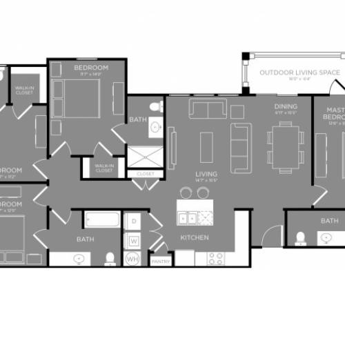 Floor Plan 6   Luxury Apartments In Little Elm TX   The Estates 3Eighty