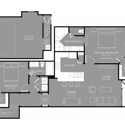 3D Floor Plan 9 | Little Elm Apartments | The Mansions 3Eighty