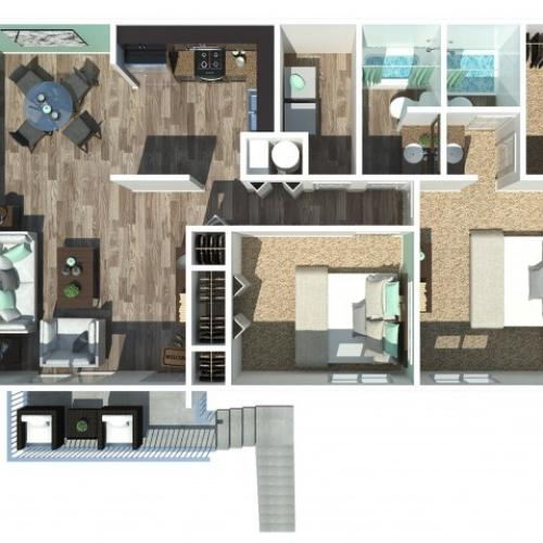 Two Bedroom Two Bath Garden 1028 Sq Ft