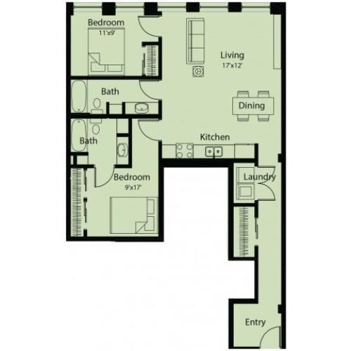 2 bed/ 2 bath floor plan