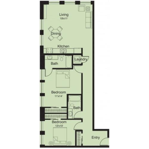 2 bed/ 2 bath floor plan