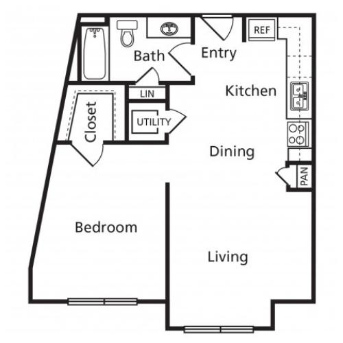 A | 1 bed 1 bath | from 658 square feet