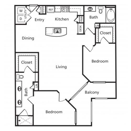D1 | 2 bed 2 bath | from 1213 square feet