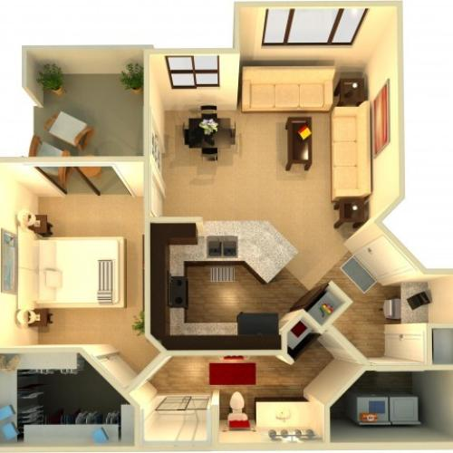 A2 | 1 bed 1 bath | from 840 square feet
