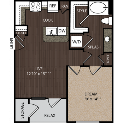 A1 | 1 bed 1 bath | from 673 square feet