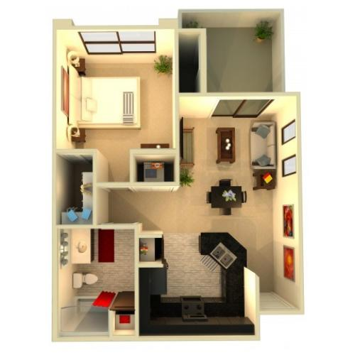 A3 | 1 bed 1 bath | from 674 square feet