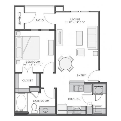 Augustine | 1 bed 1 bath | from 651 square feet