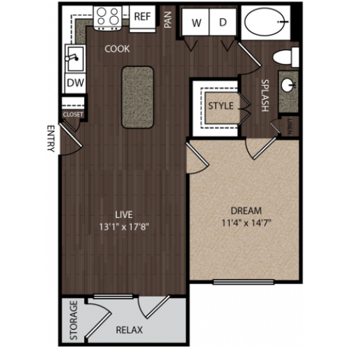 A2 | 1 bed 1 bath | from 710 square feet