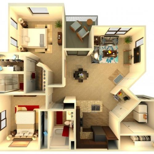 B1 | 2 bed 2 bath | from 1160 square feet