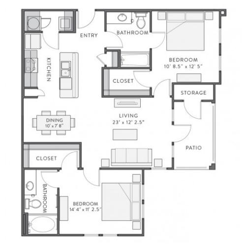 Prien | 2 bed 2 bath | from 1086 square feet