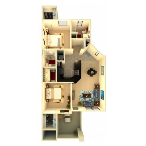 B3 | 2 bed 2 bath | from 1060 square feet