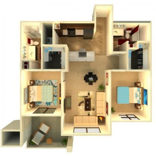 B6.1 | 2 bed 2 bath | from 1072 square feet