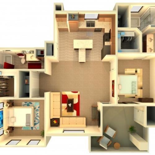 B7 | 2 bed 2 bath | from 1229 square feet