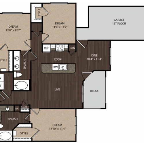 D1a1 | 3 bed 2 bath | from 1397 square feet