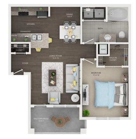 A1 | 1 bed 1 bath | from 691 square feet