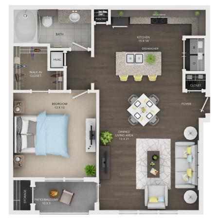 A5 | 1 bed 1 bath | from 856 square feet