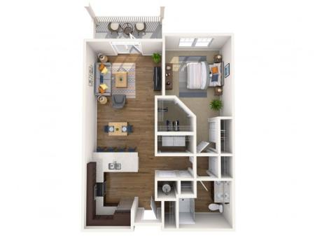 A1P | 1 bed 1 bath | from 754 square feet