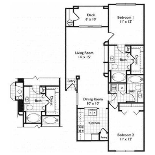 Sevilla | 2 bed 2 bath | Riviera at West Village | Apartments Dallas, TX