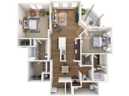 B2 ALT | 2 bed 2 bath | from 1398 square feet