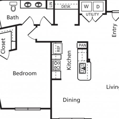 B6a Floorplan 1 bed 1 bath