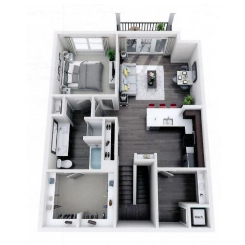 A6 Floor plan 1 bed 1 bath 937 sf