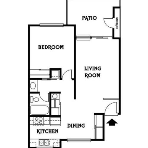 1x1 A floor plan
