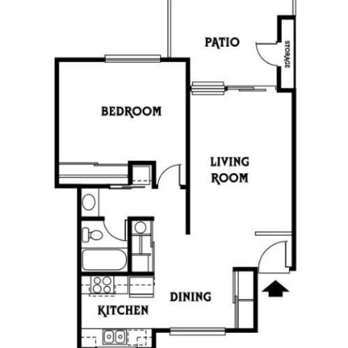 1x1 B Floor Plan