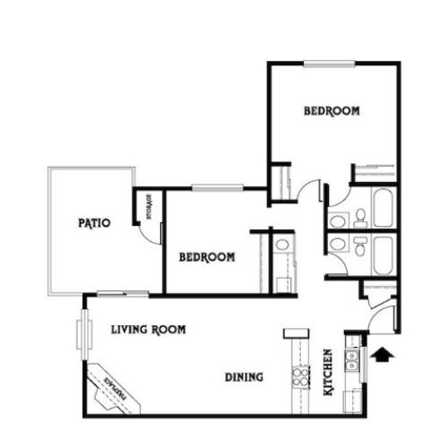 2x2 B Floor Plan