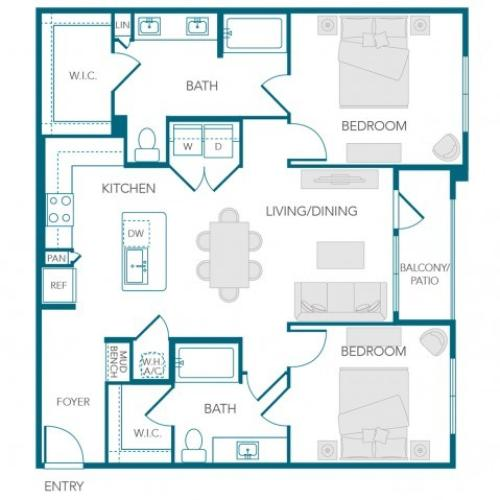 Stone Loch Apartments- B2D Floor Plan