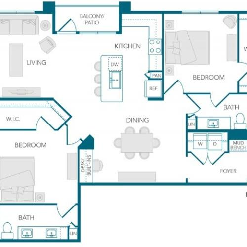 Stone Loch Apartments- B3 Floor Plan