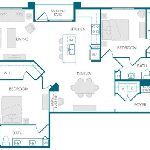 Stone Loch Apartments- B3A Floor Plan