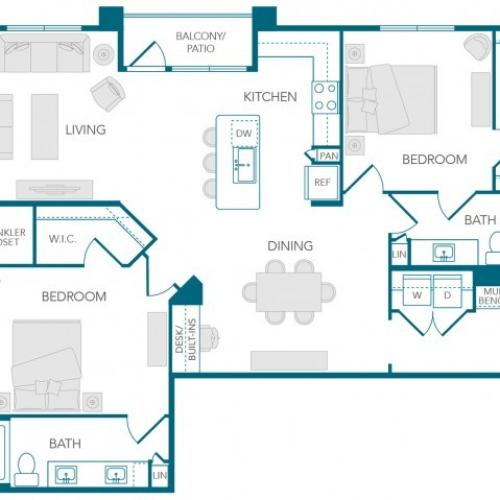Stone Loch Apartments- B3B Floor Plan