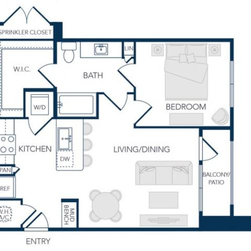The Rosemary Apartments- A0C Floor Plan