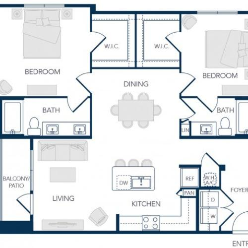 The Rosemary Apartments- B1A Floor Plan