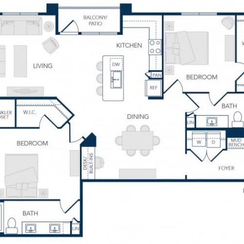 The Rosemary Apartments- B3B Floor Plan
