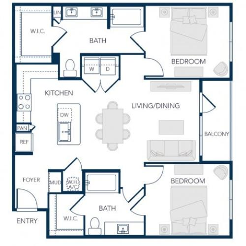 The Rosemary Apartments- B2 Floor Plan