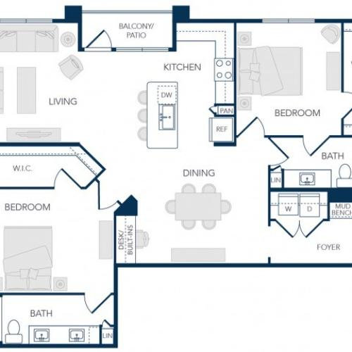 The Rosemary Apartments- B3A Floor Plan