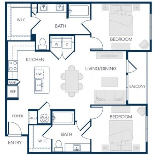 The Rosemary Apartments- B2A Floor Plan