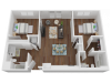 864 sq. ft. two-bedroom, two-bathroom floorplan