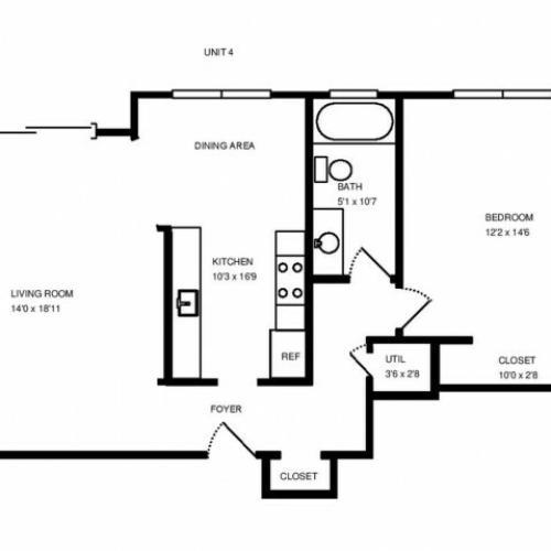 One Bedroom One Bath 800 square feet.