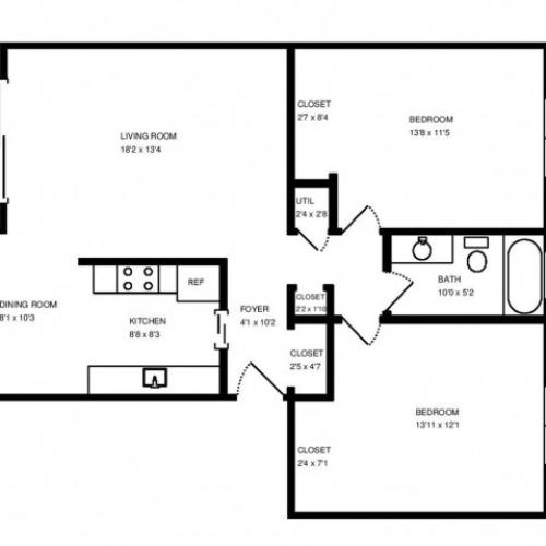 Two Bedroom One Bath 1,100 square feet