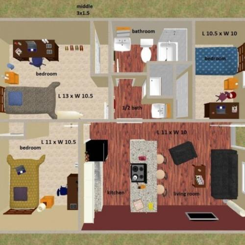 Middle 3 bedroom