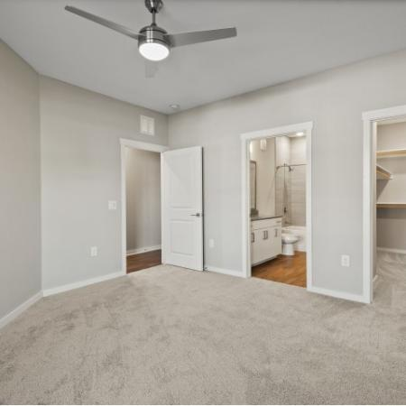Bedroom Empty with walk in closet and bathroom | Verso Luxury Apartments
