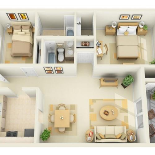 2 Bedroom 2 Bath Floorplan with Porch