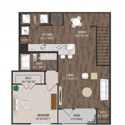1 Bedroom 1 Bath - A2U