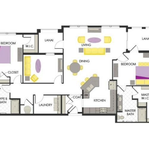 Arcadia Gardens, Palm Beach Gardens FL | Rose Deluxe floorplan