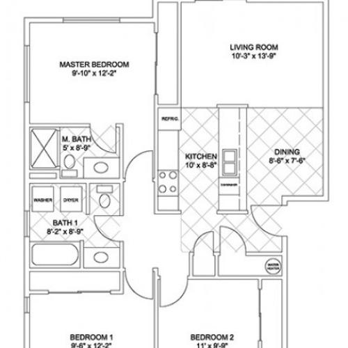 Three Bedroom, Two Bath (Cascade Ridge)