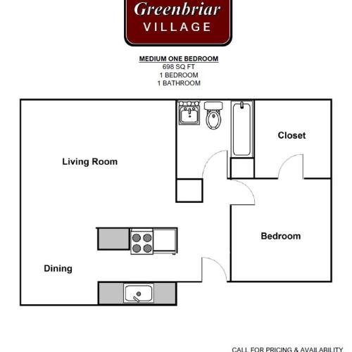 Medium One Bed Floorplan