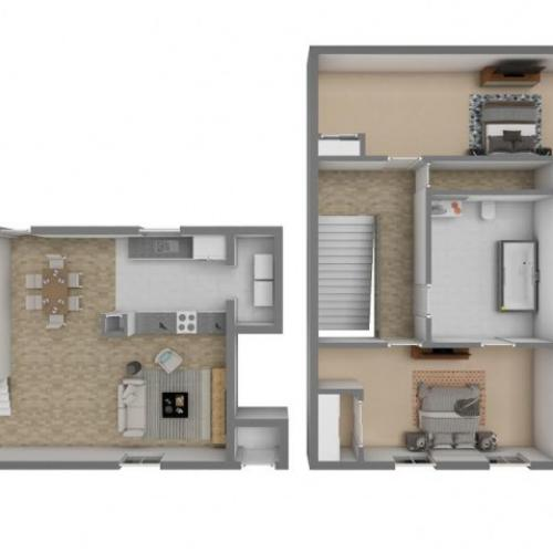 2 Bedroom / 1.5 Bathrooms